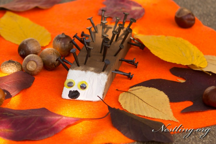 Basteln Im Herbst Mit Kindern Igel Aus Holz Nestling